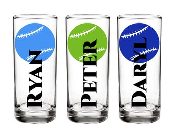 Set of 4 Custom Baseball Shotglasses - Personalized with name, colors, and fonts - Great for bachelor and sports parties - FREE SHIPPING