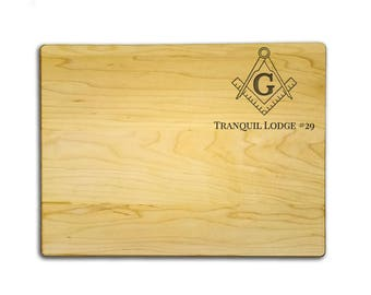 "Custom Etched Masonic Cutting Board - 9"" x 12"" Quality Maple Cutting Board Custom Etched with Lodge, Square and Compasses - FREE SHIPPING"