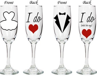 I do, I do what she says - Champage Flue Set - Bride and Groom - double sided - personalized wedding glasses - engagement gift