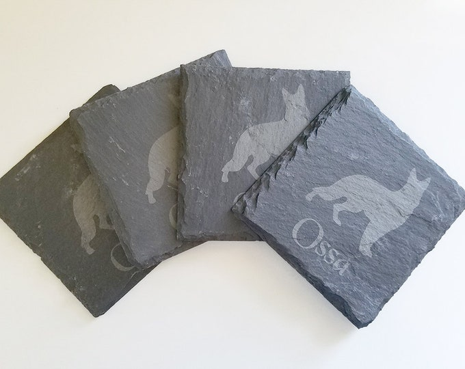 Personalized Dog Slate Coasters - Etched coasters with dog silhouette and name - Set of four custom coasters - natural edge slate