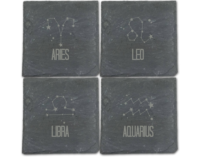 Custom Laser Etched Zodiac Slate Coaster - Single Natural Edge Slate Coaster with Pads to Protect You Coffee Table and Counters