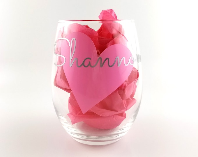 Set of 3 Personalized Stemless Wine Glasses, Personalized Bachelorette Glasses, Girls Getaway, Girls Night Out - FREE SHIPPING