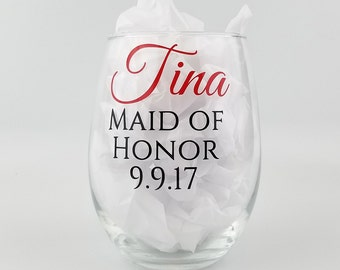 Personalized Bridal Party Glass - 21oz stemless white wine glasses - Bridesmaid gifts with name, role, and date