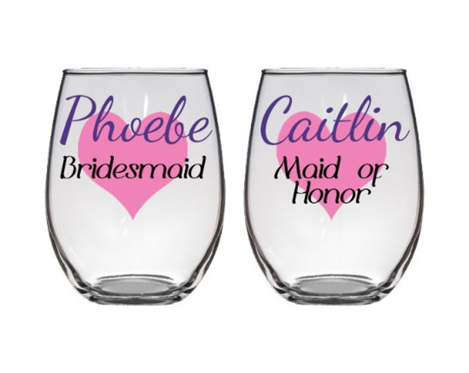 Set of 2 Bridal Party Stemless Wine Glass - Custom Personalized with Name, Title, Heart - Bride, Bridesmaids, Maid of Honor - FREE SHIPPING