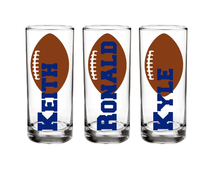 Set of 4 Personalized sports shot glass with name, football themed.  Great for a superbowl party, frat party, gathering - FREE SHIPPING