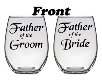 Personalized Father of the Bride or Father of the Groom, Stemless Wine Glass with Monogrammed inital, 21 oz, Wedding Gift, Parents