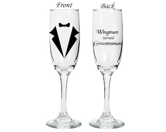 Groomsman gift Champagne Flute - Wingman turned Groomsman - double sided flute - wedding - bridal -engagement
