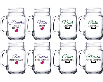 Personalized Mason Jar Drinking Glass - bride groom maid of honor matron of honor best man groomsman bridesmaid