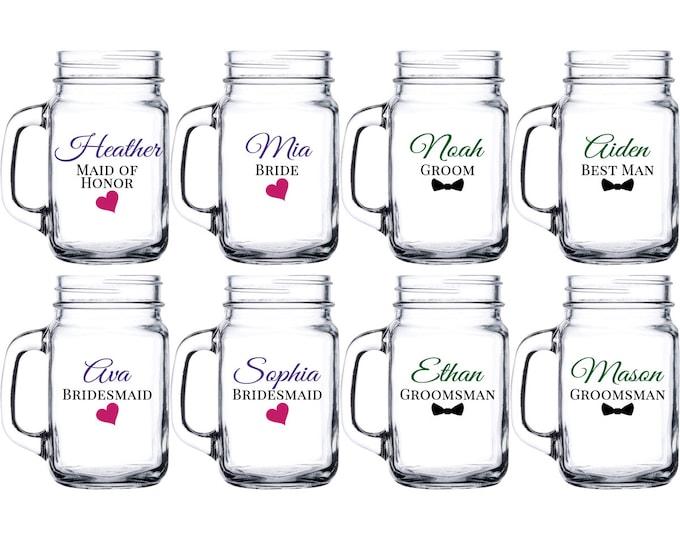 Set of 2 Personalized Mason Jar Drinking Glasses - bride groom maid of honor matron of honor best man groomsman bridesmaid - FREE SHIPPING