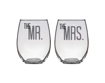 Bride & Groom - Mr and Mrs - Set of Two Personalized Stemless Glasses - 21 oz. - Wedding - Anniversary - Toasting - Wine - Glassware - Pair