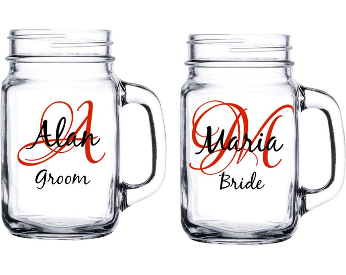 Set of 2 Personalized wedding mason jar - With initial, name, and title - Bride, Groom, Bridesmaid, Groomsmen, Best Man - FREE SHIPPING