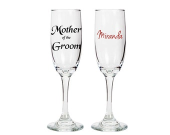 Mother of the groom champagne glass - double sided with name - wedding bridal engagement gift