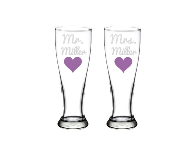 Personalized Etched Mr and Mrs Wedding Glasses - 23 oz Pilsner - Bride - Groom - Anniversary - toasting glasses - FREE SHIPPING