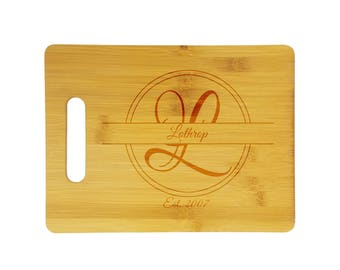 "Personalized etched bamboo cutting board - 9"" x 12"" bamboo cutting board, customized with name, initial, and date on one side - mongram"