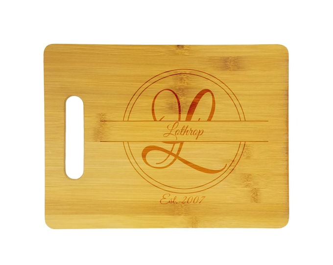 """Personalized etched bamboo cutting board - 9"""" x 12"""" bamboo cutting board, customized with name, initial, and date on one side - mongram"""