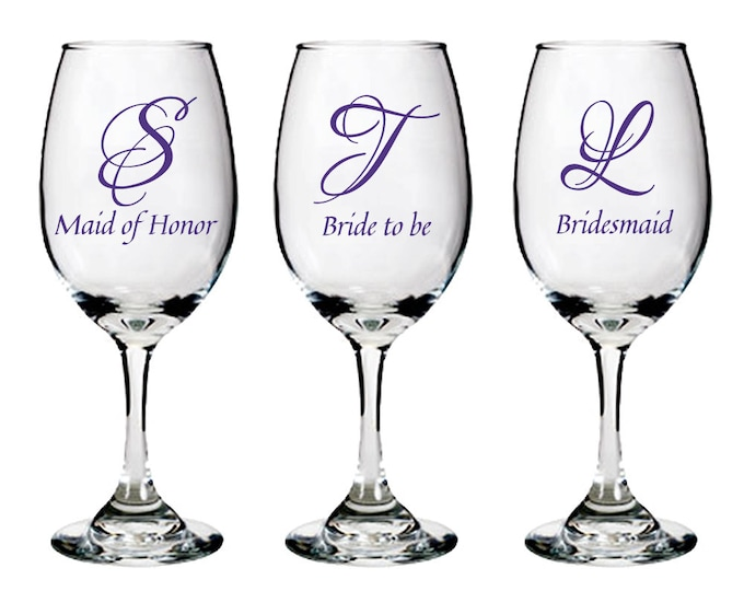 Personalized Bridal Party Glass - white wine glasses - Bridesmaid gifts with initial and role - one glass - FREE SHIPPING
