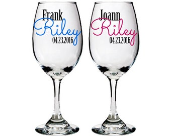 Personalized white wine glass - bride and groom - wedding toast - bridal shower gift ideas - one pair - First Name / Last Name / Date