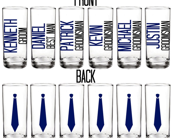 Set of 10 shot glasses - Men's shot glasses with name, title, and necktie - Groom, Best Man, Groomsman - Batchelor Party - FREE SHIPPING