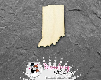 Indiana - Unfinished Laser Cut Shape, DIY Craft Supplies, Woodworking, Kids Crafts, Blanks, Many Sizes - FREE SHIPPING