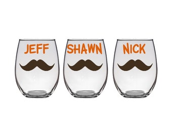 Personalized groomsmen 21 oz stemless with name and mustache, best man glass, groom glass, bachelor parties, wedding gifts