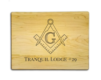 "Custom Etched Masonic Cutting Board - 9"" x 12"" Quality Cutting Board Custom Etched with Lodge, Square and Compasses - FREE SHIPPING"