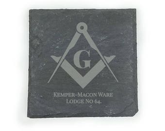 Custom Etched Masonic Slate Coasters - Set of Four - Mason Coaster with Square and Compasses, Lodge Name and Number - FREE DOMESTIC SHIPPING