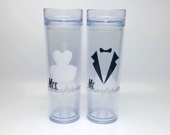 Personalized Wedding Bride and Groom skinny tumblers - Mr Mrs tumblers with tux and dress - bpa free - double walled - bridal gifts