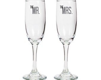 Bride & Groom Set - The Mr and Mrs - Pair of Champagne Glasses - approximately 6 oz. - Wedding - Anniversary