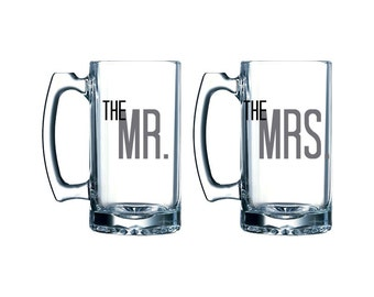 Bride & Groom - Mr and Mrs - Set of Large Mug Glasses - Wedding - Anniversary - The Mr - The Mrs