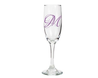 Monogramed Champagne Flute - Great for brides, grooms, bridesmaids, groomsmen, and the whole wedding party