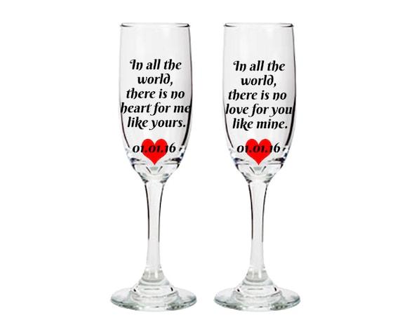 Champagner Gläser Mit Romantischen Sprüchen Braut Und Etsy