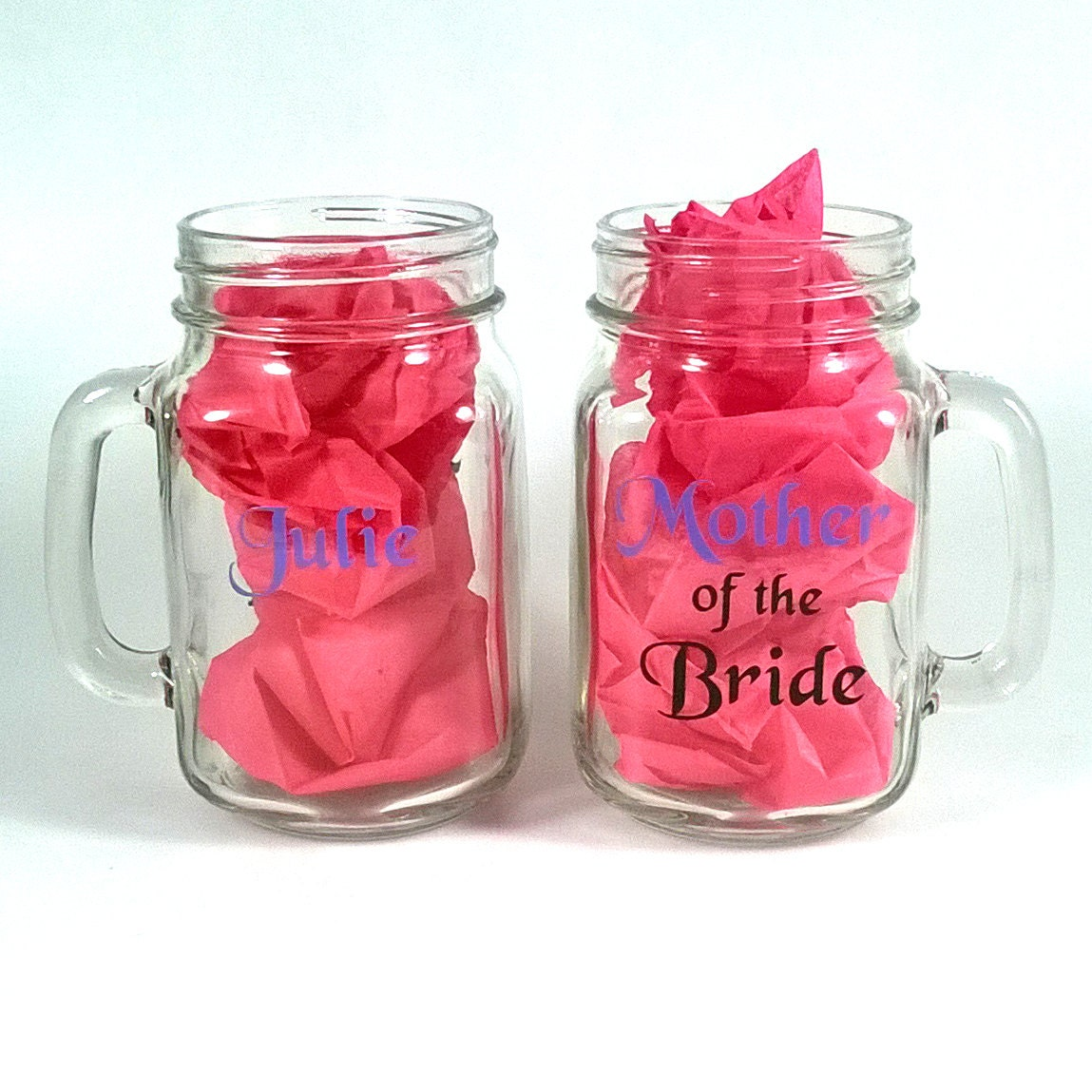 Mother of the bride and groom mason jar glasses - set of two ...