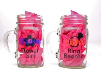 Set of 2 Personalized Mason Jar Glass Pint - Flower Girl Glass, Ring Bearer Glass - Bridal party gift - Wedding glassware