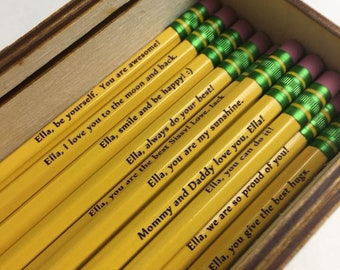 12 Personalized Etched Pencils- Either name only or name with inspirational saying.  The perfect back to school gift for any student