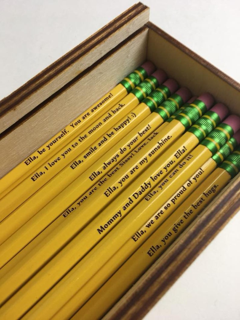 12 Personalized Etched Pencils Either name only or name with image 0