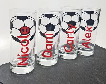 Personalized sports shot glass with name, soccer themed.  Great for birthdays, parties, and sports gatherings