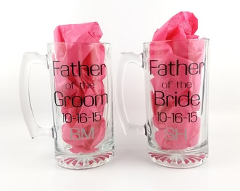 Father of the Bride Gift, Father of the Groom Gift, Father of the Bride Beer Mug and Father of the Groom Beer Mug, Personalized Pair of Mugs