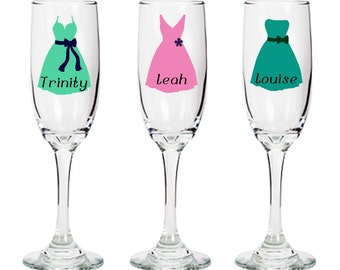 Personalized Bridesmaid Champagne Flute - Customized with Name, Dress, and Accessory - Hand Made - Brides, Matrons, Maids