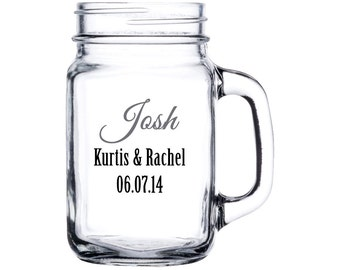 Personalized Wedding Party Mason Jar - Perfect for bridesmaids, groomsmen, Maids of Honor, Matron of Honor, Best Man, Parents