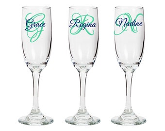 Personalized Champagne Flute With Initial and Name, Wedding Parties, Bridal Parties, Gifts, Keepsakes, Bridesmaid, Groomsmen