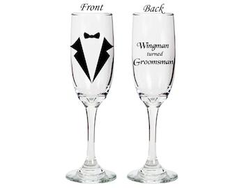 Groomsman gift Champagne Flute - Wingman turned Groomsman - double sided flute - wedding - bridal -engagement