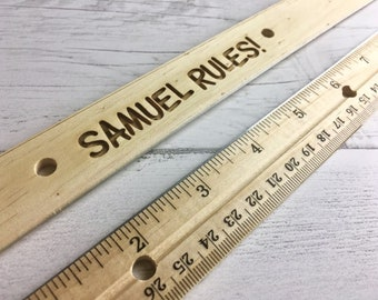 Custom Etched Wooden Ruler - Etched with name or phrase - Perfect Back to School gift for kids