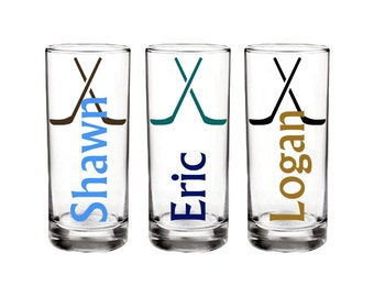 Personalized sports shot glass with name, hockey themed.  Great for birthdays, parties, and sports gatherings