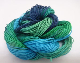 """Hand dyed thread, Size 10 to 70, """"SeaPrincess"""", shades of blue and green, variegated, HDT, tatting thread, crochet,lace making, craft thread"""