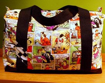 Duffel Bag/Weekender/Carry On Bag in Humorous Comic Print - Dysfunctional Family