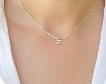 f86e4b326e12 Initial Necklace Sterling Silver, Silver Charm Initial Necklace,  Personalized Gift Minimalist Jewelry, Bridesmaid Gift, Mother's Day Gift
