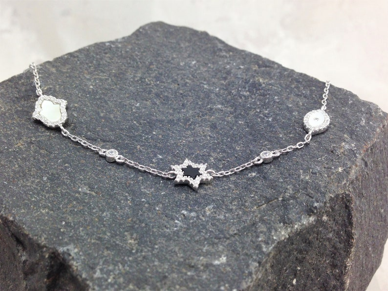 Gift for Her Hamsa David Star Evil Eye Silver Adjustable Bracelet Silver White Mother of Pearl Black Onyx Adjustable Bracelet