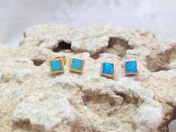 Geometric Earrings Opal Gold Earrings Gift for Her Opal Sterling Silver Earrings Opal Jewelry Blue Opal Square Stud Earrings