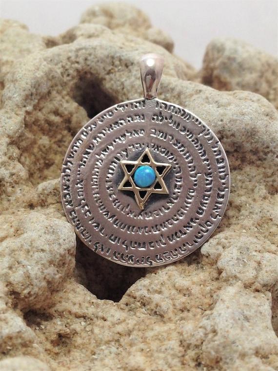 OPALE BLEUE 72 noms de dieu collier pendentif David Star La Kabbale Juive Bijoux