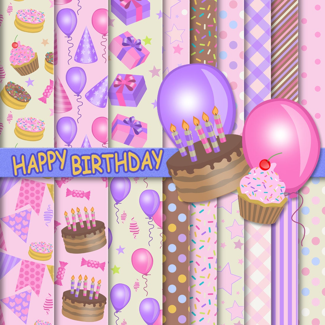 Paper Happy Scrapbook Happy Paper Birthday Digital Etsy